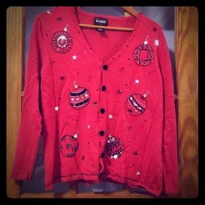 Red Holiday Christmas sweater Cardigan XL